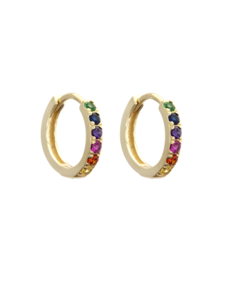 Atelier 18 Midi Zircon Studded Hoops 12.5mm Rainbow