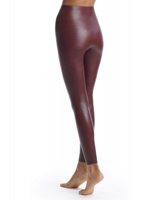 Oxblood Faux Leather Legging with Perfect Control