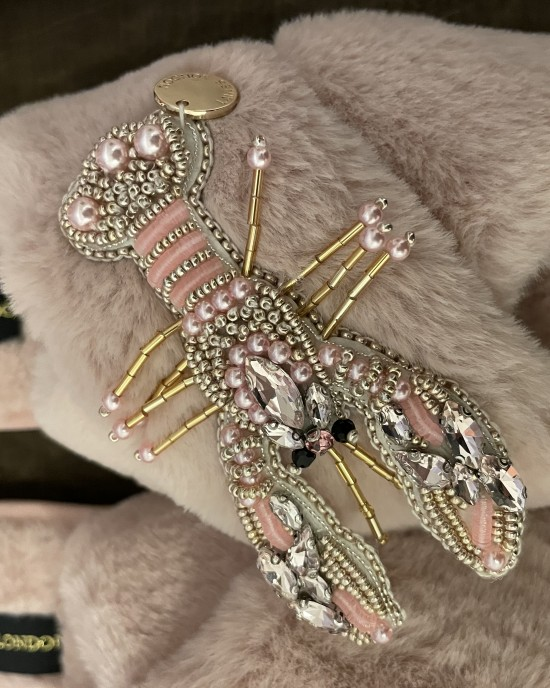Pink Fluffy Slippers Pearl Pink Lobster Brooch