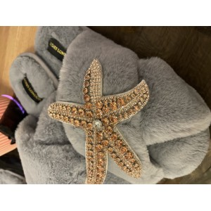 Grey Fluffy Slippers Rose Gold Starfish Brooch