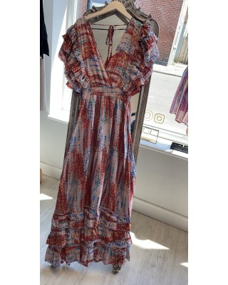Multi Frill Summer Dress with Gold Fleck