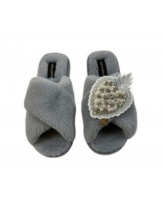 Grey Fluffy Slippers with Pearl and Diamond Heart