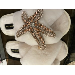 Cream Fluffy Slippers Rose Gold Starfish Brooch