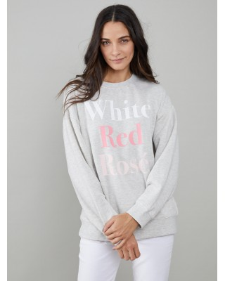South Parade Alexa - Oversized Sweatshirt - White Red Rosé - Light Heather Grey