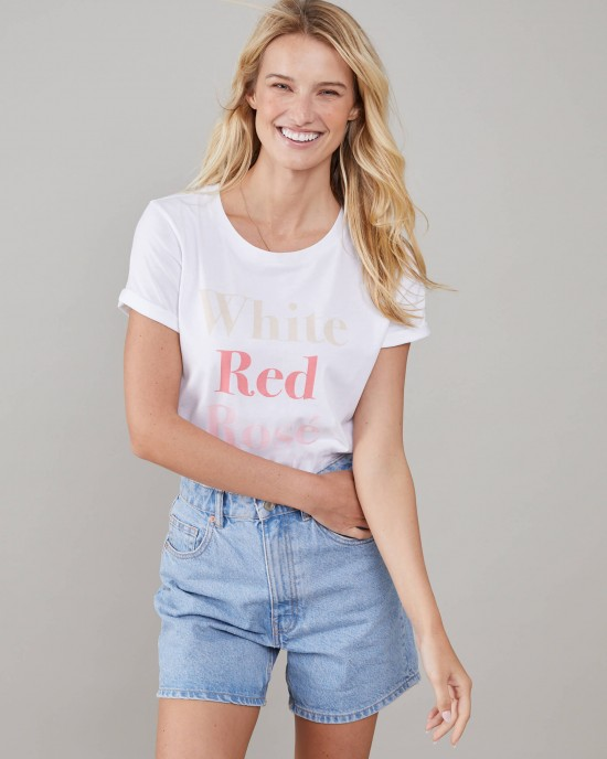 South Parade Lola - Loose Tee - White Red Rosé - White